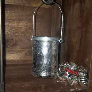 Silver Foiled Glass Hanging Votive Holder